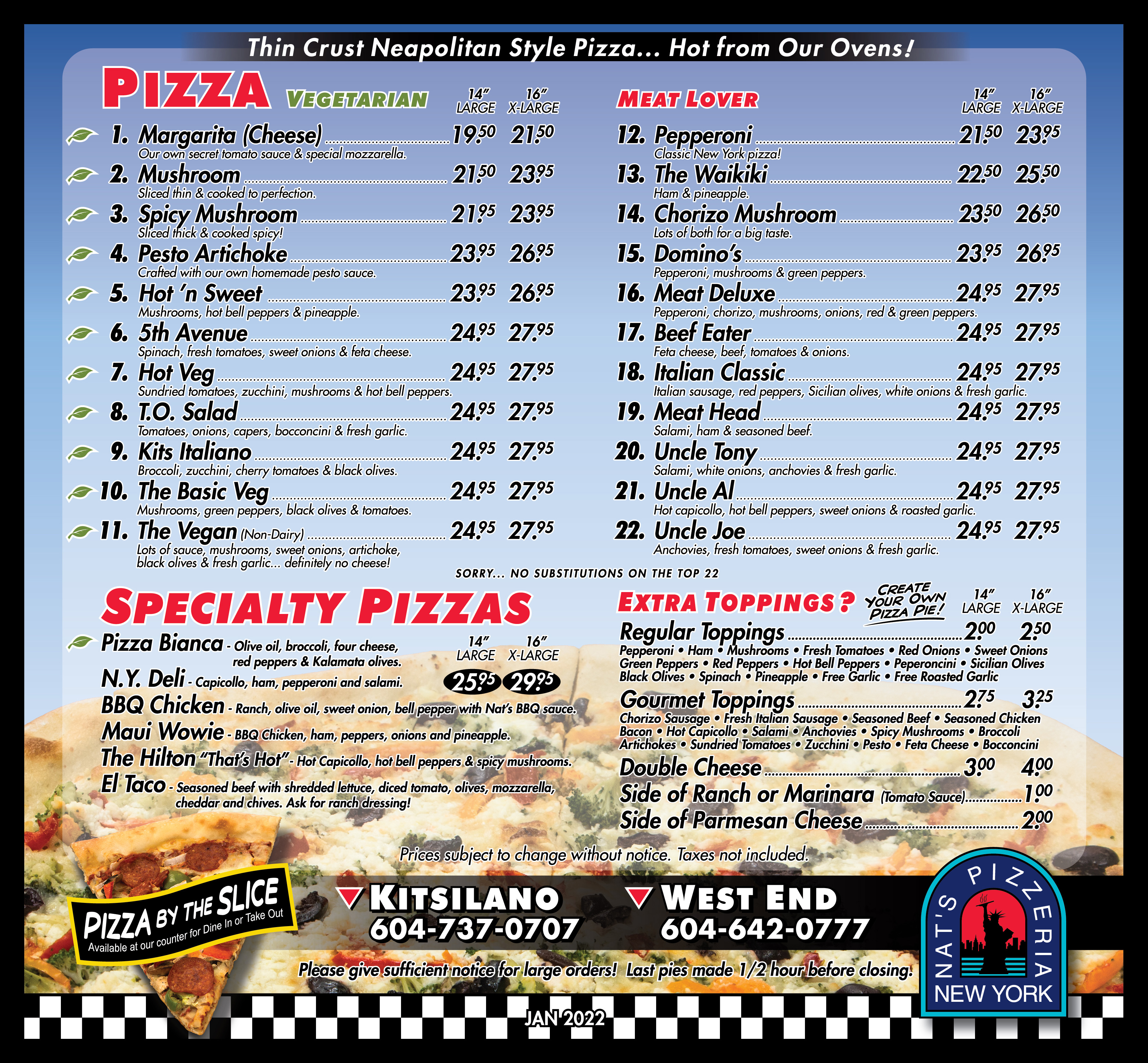 Nat's New York Pizzeria :: Nat's Menu